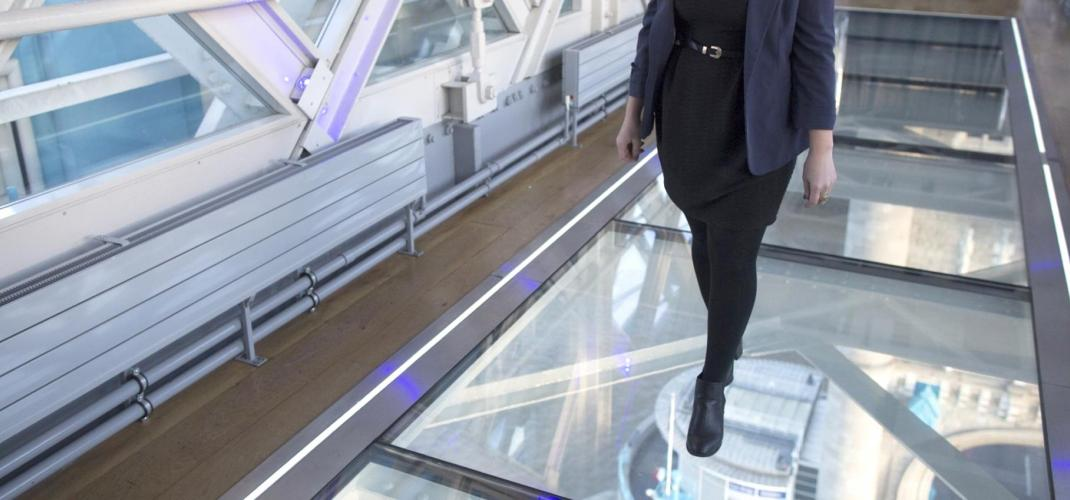 the new transparent floor of the 1st floor of the Eiffel Tower