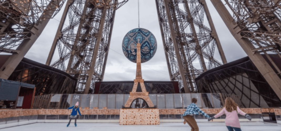 A skating rink on the Eiffel Tower